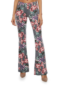 Printed Flared Pants - GRAY - 1061074015798