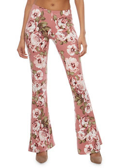 Printed Flared Pants - MAUVE - 1061074015798