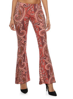 Printed Flared Pants - ROSE/BURGUNDY - 1061074015798
