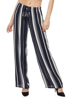 Striped Crepe Knit Palazzo Pants - 1061074015805