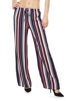 Striped Crepe Knit Palazzo Pants - 1061074015805