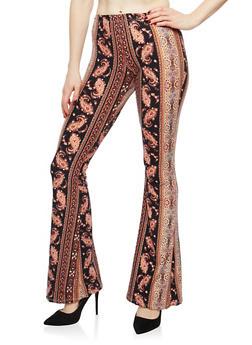 Soft Knit Printed Flared Pants - 1061074015808