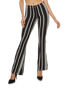 Soft Knit Printed Flared Pants - WHT-BLK - 1061074015808