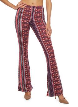 Soft Knit Printed Flared Pants - MAUVE/GREY - 1061074015808