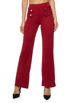 Tabbed Button Front Palazzo Pants - 1061074015813
