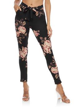 Tie Front Soft Knit Pants - MAUVE/BLK - 1061074015818
