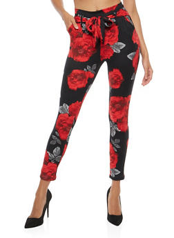 Tie Front Soft Knit Pants - RED - 1061074015818