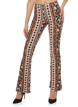 Paisley Print Flared Pants - 1061074015820