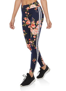 Soft Knit Floral Athletic Striped Leggings - 1061074015826