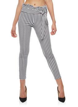 Houndstooth Belted Skinny Pants - 1061074015828
