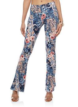 Floral Soft Knit Flared Pants - NAVY/ROSE - 1061074017875