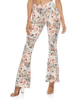 Floral Soft Knit Flared Pants - NAVY/MAUVE - 1061074017875