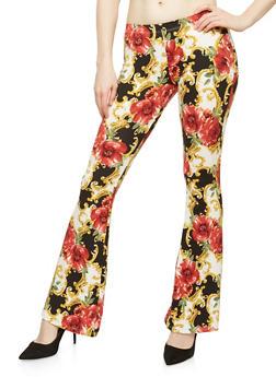 Floral Soft Knit Flared Pants - BLACK/RED - 1061074017875