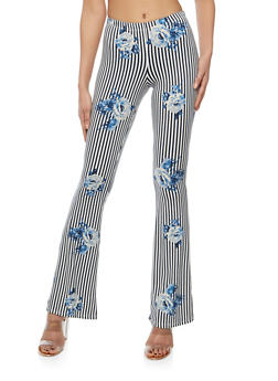 Printed Soft Knit Flared Pants - DENIM/TAUPE - 1061074017875