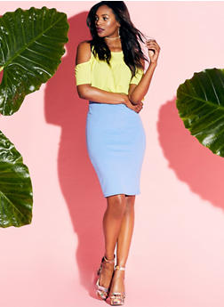 Classic Textuered Knit Pencil Skirt - 1062020620939