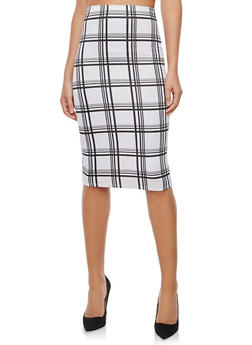 Windowpane Print Pencil Skirt - 1062020621395