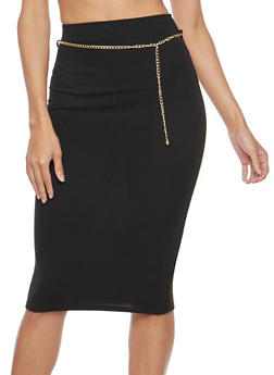 Crepe Knit Chain Belt Pencil Skirt - 1062020621643
