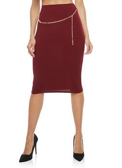 Crepe Knit Chain Belt Pencil Skirt - 1062020621643