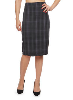 Side Zip Printed Pencil Skirt - GRAY - 1062020621644