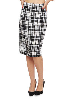 Side Zip Printed Pencil Skirt - BLACK/WHITE - 1062020621644