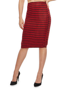 Side Zip Printed Pencil Skirt - BLACK/RED - 1062020621644