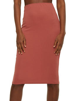 Solid Textured Knit Pencil Skirt - 1062020623144