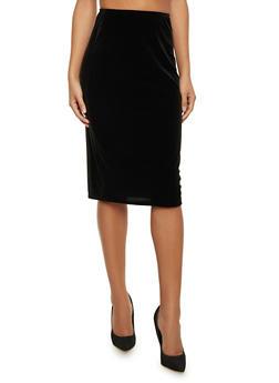 Velvet Midi Pencil Skirt - 1062020624384