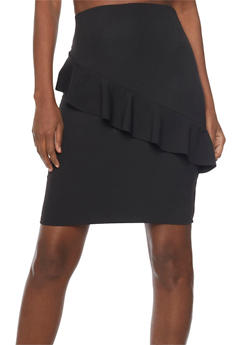 Solid Pencil Skirt with Ruffle Detail - 1062020624411
