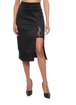Asymmetrical Slit with Lace Window Detail Pencil Skirt - 1062020624412