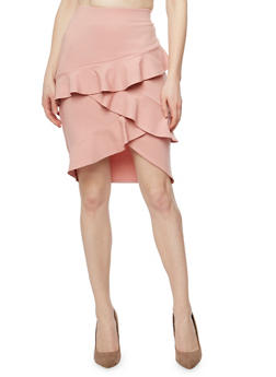 Mid Length Tiered Ruffle Pencil Skirt - 1062020624423