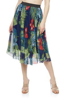 Floral Mesh Midi Skirt - 1062020624448