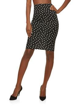 Textured Knit Polka Dot Pencil Skirt - 1062020625339