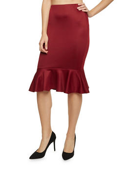 Pencil Skirt with Peplum Hem - 1062020626144
