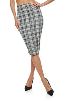 Plaid Midi Pencil Skirt - 1062020626295