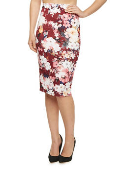 Pencil Skirt in Floral Print - 1062020626344