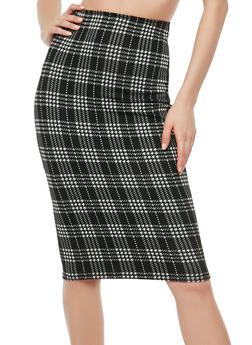 Plaid Soft Knit Pencil Skirt - 1062020626394