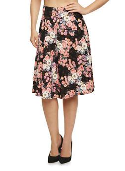 Midi Skater Skirt in Floral Print - 1062020626444