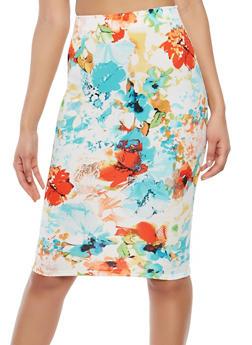 Printed Pencil Skirt - 1062020626493