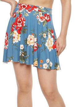 Soft Knit Floral Print Mini Skirt - 1062020626688