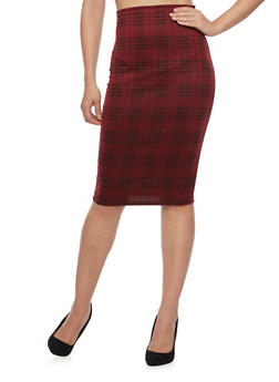 Knit Plaid Pencil Skirt - 1062020628044