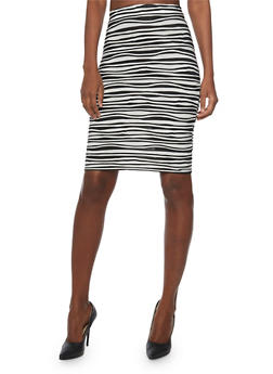 Wavy Shadow Stripe Pencil Skirt - 1062020628133