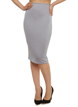 Solid Mid Length Pencil Skirt - 1062020628139