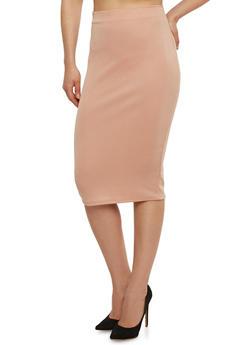 Solid Mid Length Pencil Skirt - BLUSH - 1062020628139
