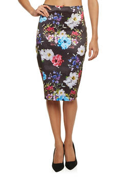 Coated Pencil Skirt in Floral Print - 1062020628734