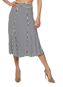 Lightweight Striped Skater Skirt - 1062020629144