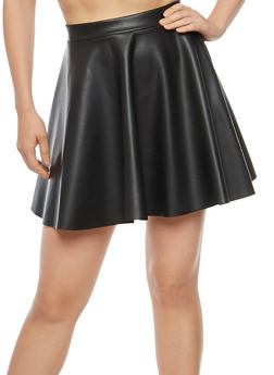 Faux Leather Mini Skater Skirt - 1062020629446
