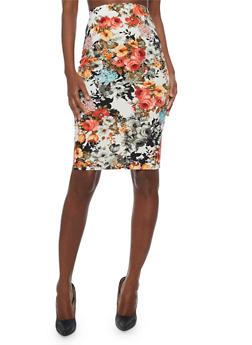 Floral Print Mid Length Pencil Skirt - 1062020629541