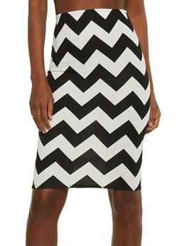 Chevron Print Pencil Skirt - 1062020629542