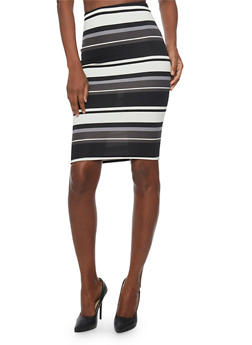 Striped Pencil Skirt - 1062020629543