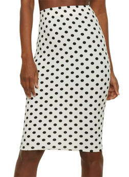 Crepe Knit Polka Dot Pencil Skirt - 1062020629544